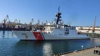 Фрегат береговой охраны США зашел в одесский порт. Видео