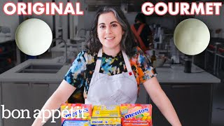 Alright, look. We're warning you now. Don't mix Mentos and Coke at home unless you want to spend way too long cleaning up afterwards. Anyway, making Mentos should be just like making Skittles, right? So this shouldn't take too long... hmm. Join Claire Saffitz in the Bon Appétit Test Kitchen as she makes gourmet Mentos. Check out Claire's Instagram: https://www.instagram.com/csaffitz/   Want Bon Appétit shirts, hats and more? https://shop.bonappetit.com/?utm_source=youtube&utm_brand=ba&utm_campaign=aud-dev&utm_medium=video&utm_content=merch-shop-promo  Still haven't subscribed to Bon Appétit on YouTube? ►► http://bit.ly/1TLeyPn  Want more Bon Appétit in your life? Subscribe to the magazine and score a free tote! http://bit.ly/2n0gbmu  ABOUT BON APPÉTIT Bon Appétit is a highly opinionated food brand that wants everyone to love cooking and eating as much as we do. We believe in seasonal produce, properly salted pasta water, and developing recipes that anyone can make at home.    Pastry Chef Attempts to Make Gourmet Mentos | Gourmet Makes | Bon Appétit