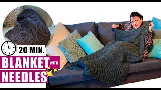 HOW TO KNIT A BLANKET WITH CIRCULAR NEEDLES    - EASY AND FAST - BY LAURA CEPEDA