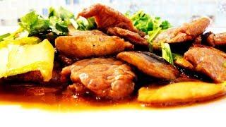 Смотреть онлайн Рецепт: Жареная баранина с грибами