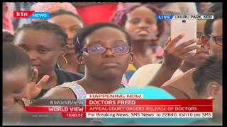 Hon Raila Odinga dances with doctors and other Health Workers at Uhuru Park Rally
