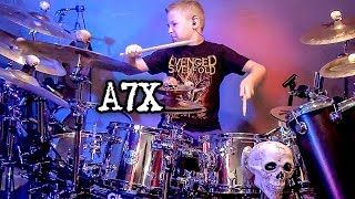 WELCOME TO THE FAMILY - A7X (9 year old Drummer) Drum Cover by Avery Drummer Molek