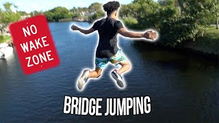 BRIDGE JUMPING INTO A LAKE !! *Not Clickbait*