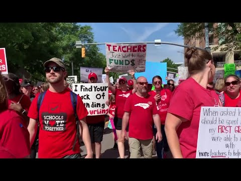 Carolina teachers took to the streets Wednesday for the second year in a row with hopes that a more politically balanced legislature will be more willing to meet their demands. (May 1)