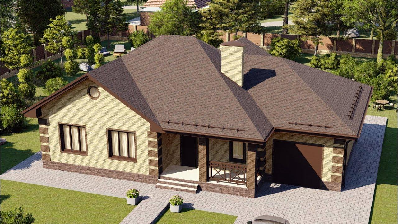 Проект большого одноэтажного дома с гаражом 146 м2