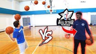 CRAZY BASKETBALL TRICKSHOTS VS NBA ALL STAR JRUE HOLIDAY!