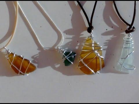 Cómo realizar colgantes para collares con tesoros de la playa - con vidrios de botellas