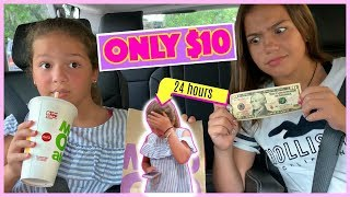 EATING  FOR 24 HOURS ONLY WITH ONLY $10 DOLLARS CHALLENGE | SISTER FOREVER