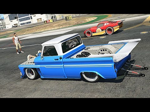 Grand Theft Auto V - Chevrolet C10 VS Lightning McQueen (GTA 5 Drag Race Mods)
