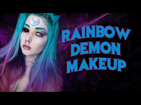 Rainbow demon makeup