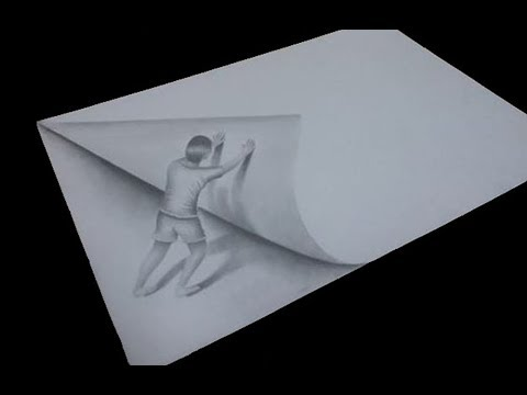 3d drawing  man pushing paper