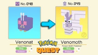 Venonat  - (Pokémon) - Pokemon Quest Evolution Venonat Evolved Into Venomoth | Pokémon Quest All Bosses