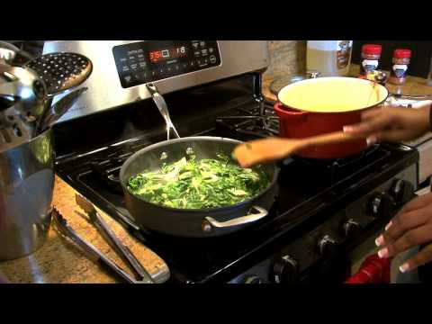 Part 2 – Fried Chicken Wings with Sauteed Greens (Cooking with Carolyn)