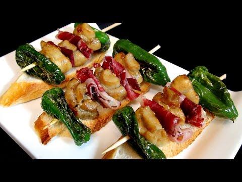 Brocheta de champiñon, jamon y pimiento verde, Recetas de pintxos