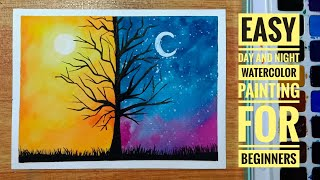 Easy Day And Night Watercolor Painting For Beginners | Step-by-step Tutorial