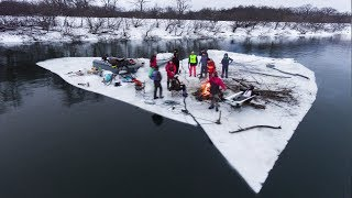 Самый обычный сплав на льдине по Дону с кучей приколюх.