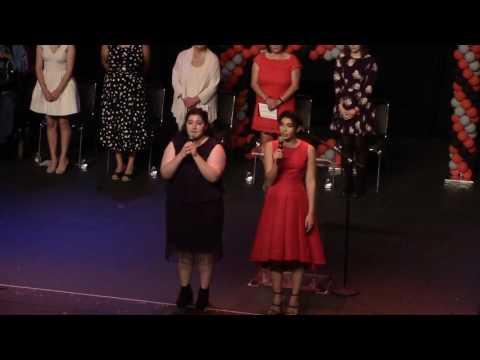 Harmony Nichols and Maleyah Moses singing The National Anthem