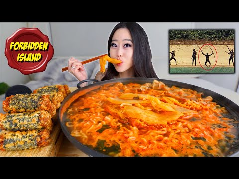 SPICY KIMCHI NOODLES + NUCLEAR FRIED SEAWEED ROLLS MUKBANG | Eating Show