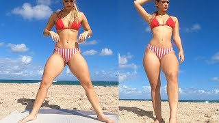 Bikini Model Does Her Sexy Thick Thighs Workout At Beach!!