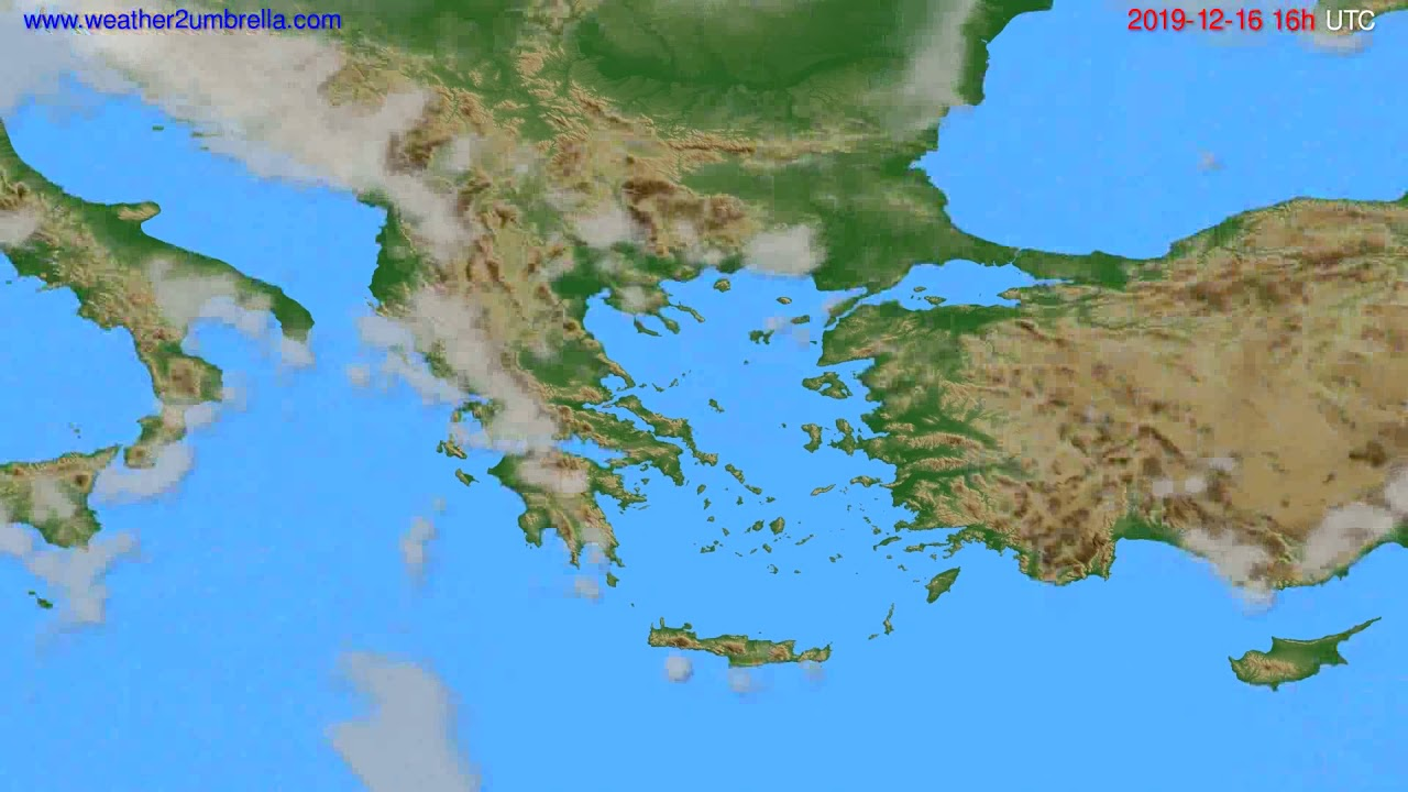 Cloud forecast Greece // modelrun: 12h UTC 2019-12-15