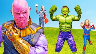 SuperHero Hulk, Thor and Captain Marvel Team Up Against Thanos to Save Kids Fun TV!