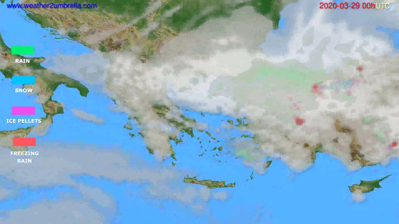 Precipitation forecast Greece // modelrun: 00h UTC 2020-03-28