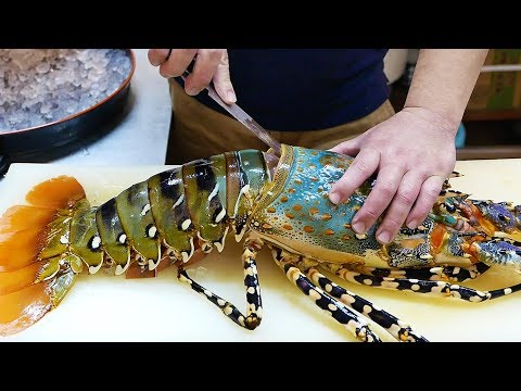 Japanese Street Food – $600 GIANT RAINBOW LOBSTER Sashimi Japan Seafood