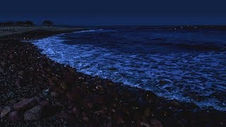Sleep with Waves on a Dark Night - Super Relaxing Ocean Sounds for Deep Sleeping