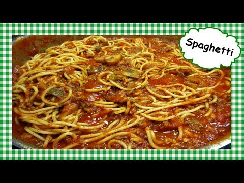 Easy Spaghetti w Ground Beef Mushroom Sauce ~ Homemade Spaghetti Meat Sauce Recipe