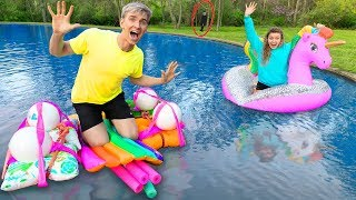LAST to SINK in Backyard Pool Wins $10,000! (Pond Monster Spotted)