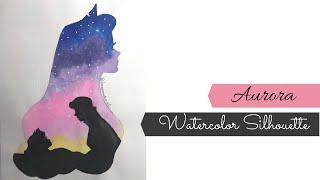 Watercolor Princess Aurora Silhhouette Painting/ Disney Silhouette Painting