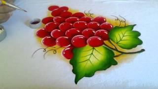 Aprendendo a pintar uvas vermelhas