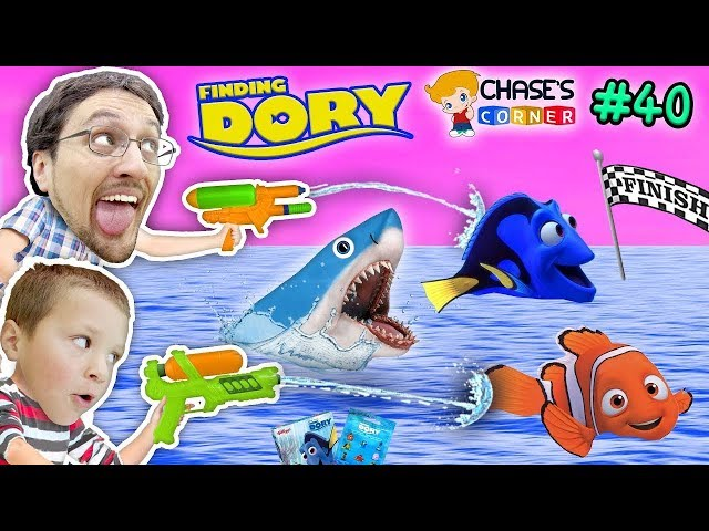Chase's Corner: FINDING DORY & NEMO SHARKS RACE w/ Water Fun (#40) | DOH MUCH FUN