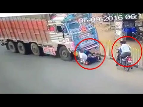 On Cam: Miraculous escape for biker in Hyderabad after accident