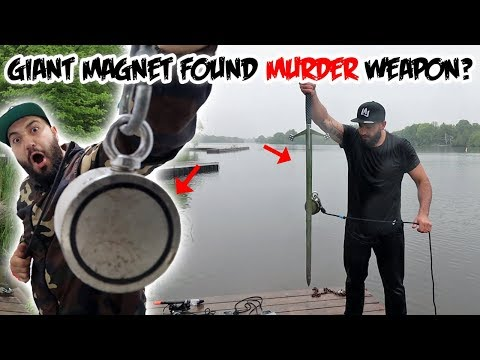 I USED A GIANT MAGNET TO FIND POSSIBLE MURDER WEAPON IN A DARK SCARY RIVER! (MAGNET FISHING)