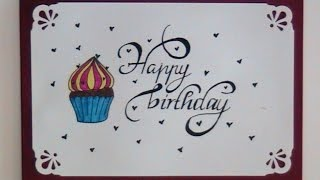 how to write cursive fancy letters - happy birthday card
