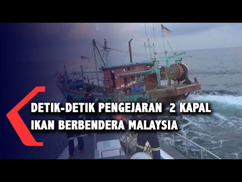 Momen Pengejaran 2 Kapal Ikan Malaysia lakukan Ilegal Fishing di Selat Malaka