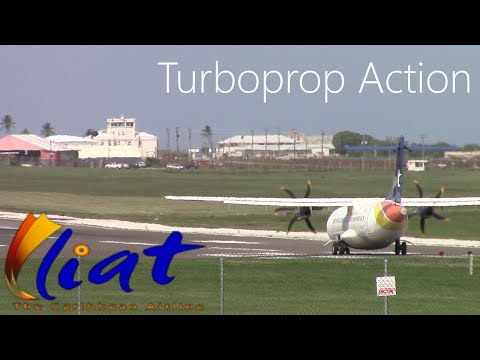 bajanaviation] Liat ATR 42 *New Angle* Head On Departures from