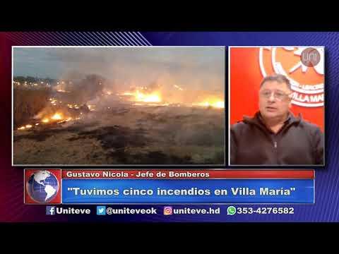 4 incendios de pastizales en la tarde villamariense