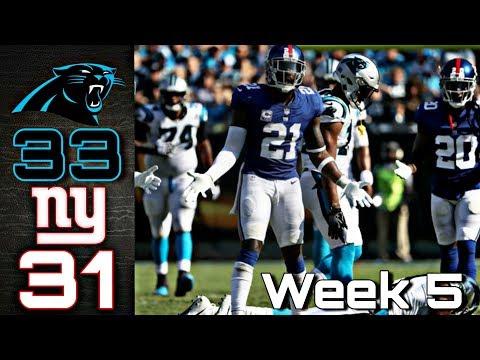 NFL 2018 Week 5 New York Giants LOSE to Carolina Panthers 33-31 Recap