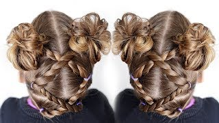 Toddler Hairstyles - Rope Twist Messy Bun Pigtails