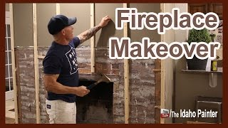 Fast Fireplace Makeover.  Rock Fireplace To Weathered Wood.