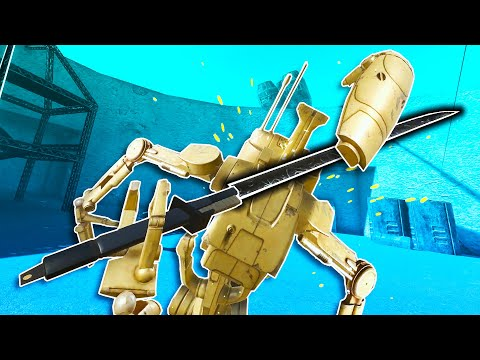 Destroying Droids with Ice Spells and Darksabers in Blade and Sorcery VR!