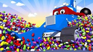 Videa s náklaďáky pro děti - Bagr a buldozer v jednom - Supernáklaďák ve Městě Aut