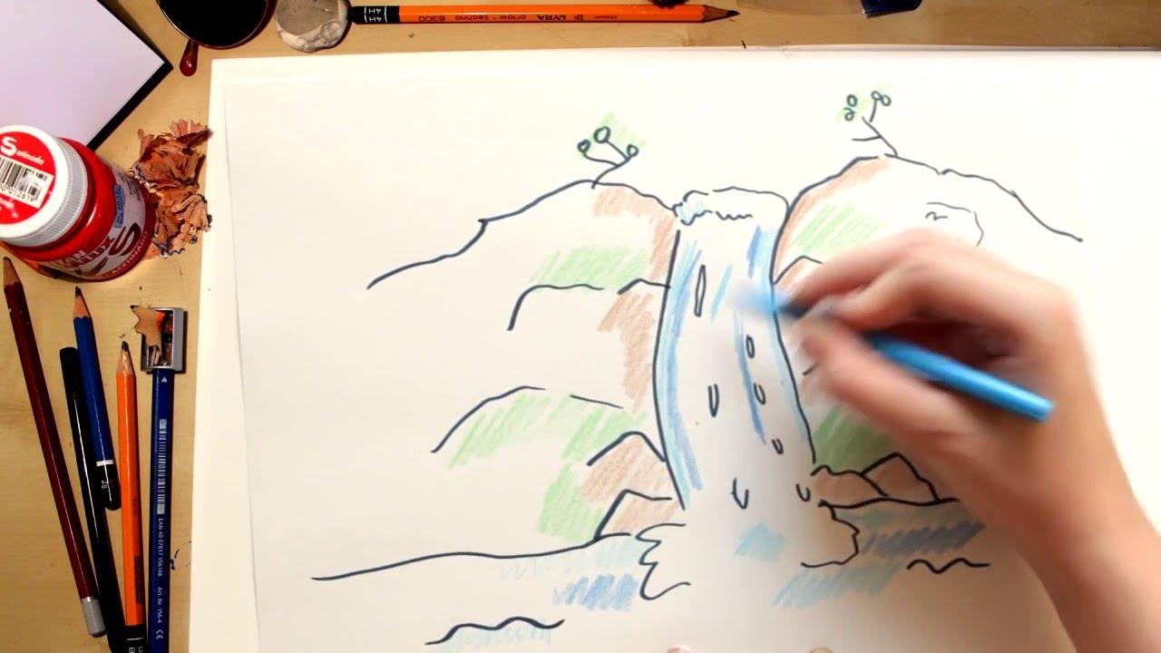 Como dibujar una cascada - dibujos para niños