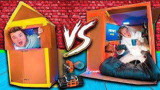 WORLDS Smallest Box Fort 24 Hour Challenge BUILD CONTEST! Fortnite, Beyblades, Xbox One & More!