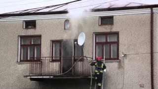 Pożar domu na ul. Popiełuszki w Krośnie