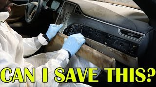 Can We Save This Sewage Tesla's Interior? - Video Youtube