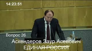 Заур Аскендеров выступил на пленарном заседании Госдумы