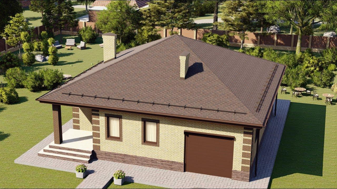 Проект простого одноэтажного дома с гаражом 120 кв.м